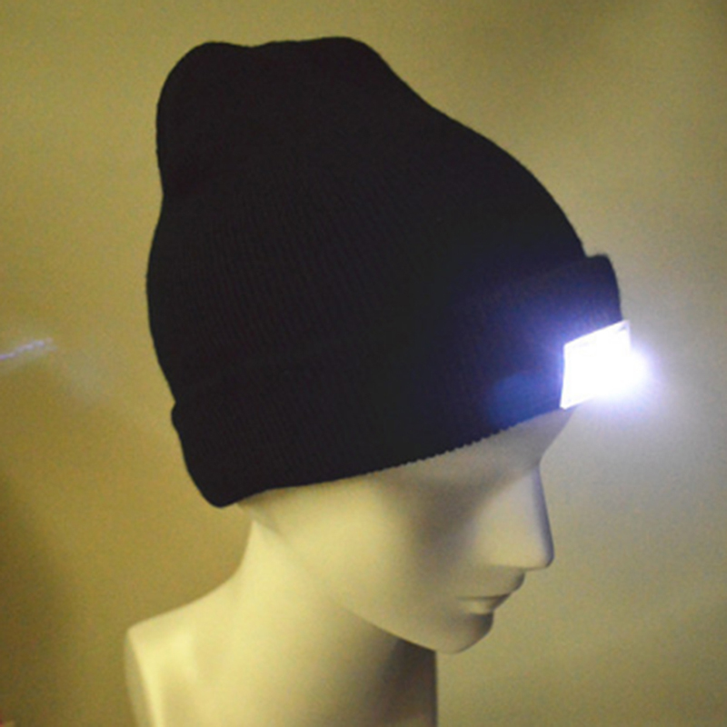Fashion Black 5-LED Lighted Cap Winter Warm Beanie Angling Hunting Camping Hat 5 Color