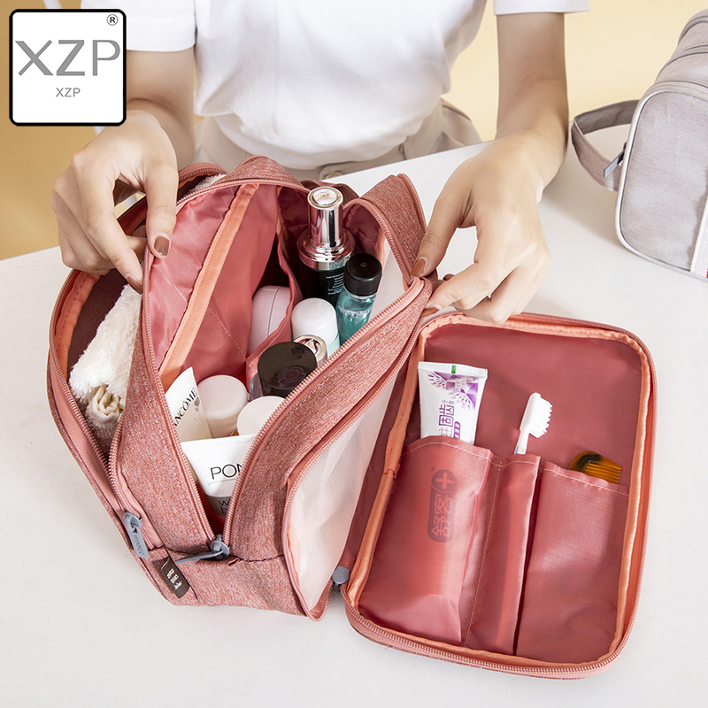 XZP Travel Canvas Shaving Kits Cosmetic Makeup Organizer Women Men Toiletry Bag With Double Compartments Kosmetyczka Beauty Case
