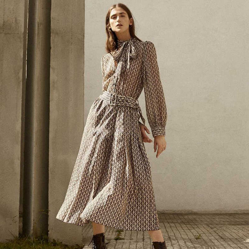 패션 za 여성을위한 새로운 드레스 매력 격자 무늬 보우 넥 벨트 드레스 레이디 긴 소매 섹시한 긴 드레스 기질 드레스 파티 선물