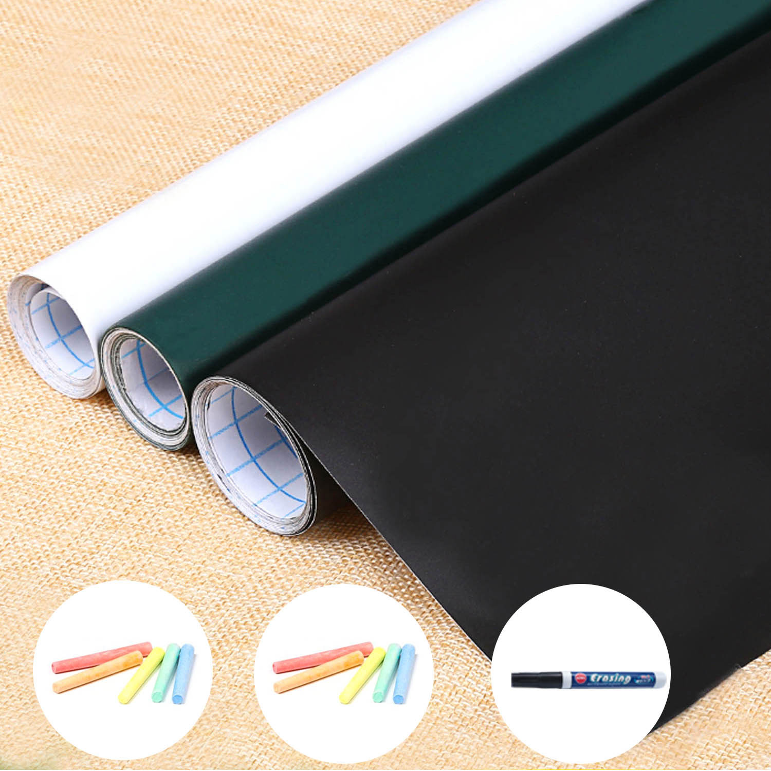 60x200cm Self-Adhesive Removable Blackboard Convenient Message Board Wall Paper Decal Sticker for Office School Supplies