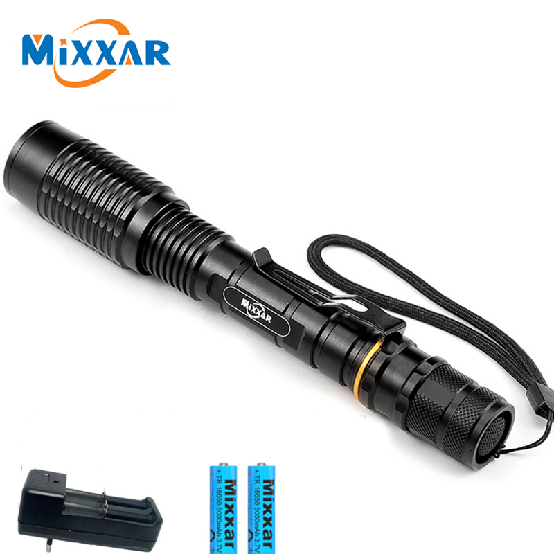 Super Powerful T6 Zoomable LED Flashlight 5-Modes Torch Light Lanterna Lamp 2x18650 Rechargeable Batteries+Charger Dropshipping