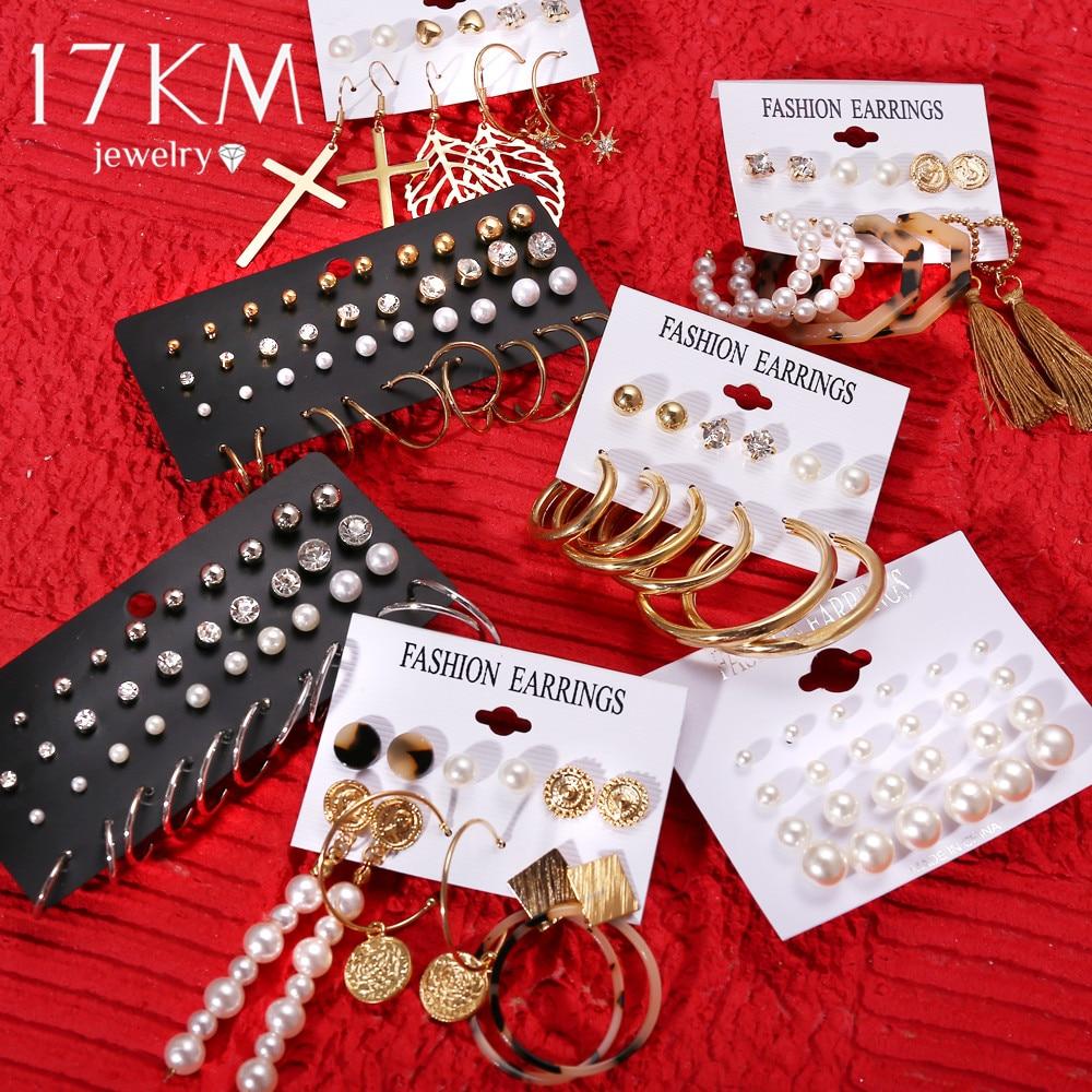 Fashion Brincos Christmas Earrings Set Crystal Pearl Earrings For Women Boho Small Stud Earring 2019 Geometric Vintage Jewelry(China)