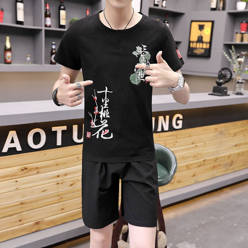 Summer Flax Set Man Cotton Linen V-neck Short Sleeve T-shirt Chinese-style Large Size Loose-Fit Casual Half Sleeve Set Suit Fash