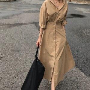 Image 4 - GALCAUR קוריאני מינימליסטי שמלת לנשים דש צווארון ארוך שרוול גבוה מותניים טהור שמלות נשי סתיו אופנה חדש 2020