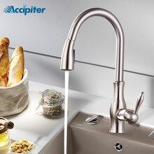 สีดำดึงอ่างล้างหน้าก๊อกน้ำโครเมี่ยมก๊อกน้ำห้องครัวTap 360 Swivel Water Tap Single Hole Water taps