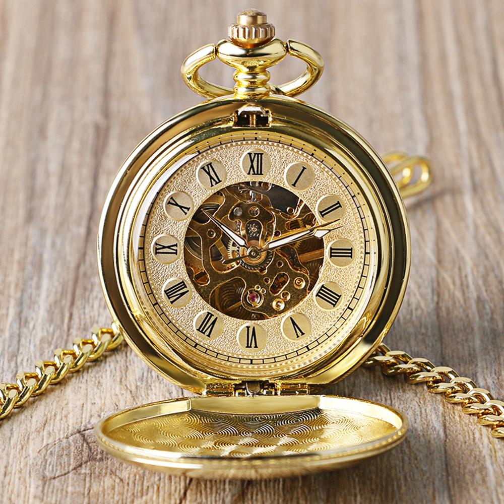 Full Gold Color Skeleton Smooth Pocket Watch Hand Wind Mechanical Roman Numerals FOB Watches Men Double Open Clock For Men Women