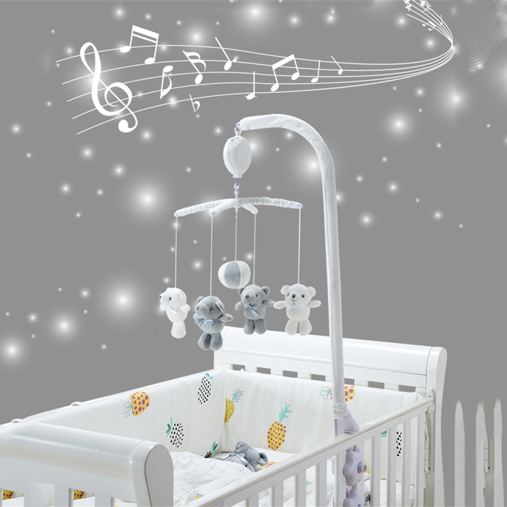 Baby Rattles Comfort Toy Crib Mobile Rattles Bracket Set 13 Pcs Infant Toys Remote Control Clockwork Music Box Baby Bed Bell Toy