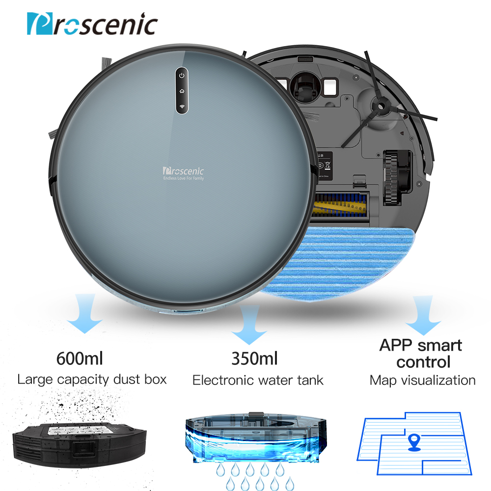 Proscenic 830P Robot Vacuum Cleaner 2000PA Vacuum Sweep Mop Clean 3in1 600ML Dust Box For Home Pets Hair Carpets And Hard Floors - 3