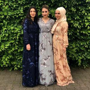 Image 2 - יוקרה מוסלמי רקמה העבאיה תחרה פאייטים מלא שמלת ערב המפלגה קימונו Vestidos ארוך שמלות גלימת Jubah עיד הרמדאן אסלאמי