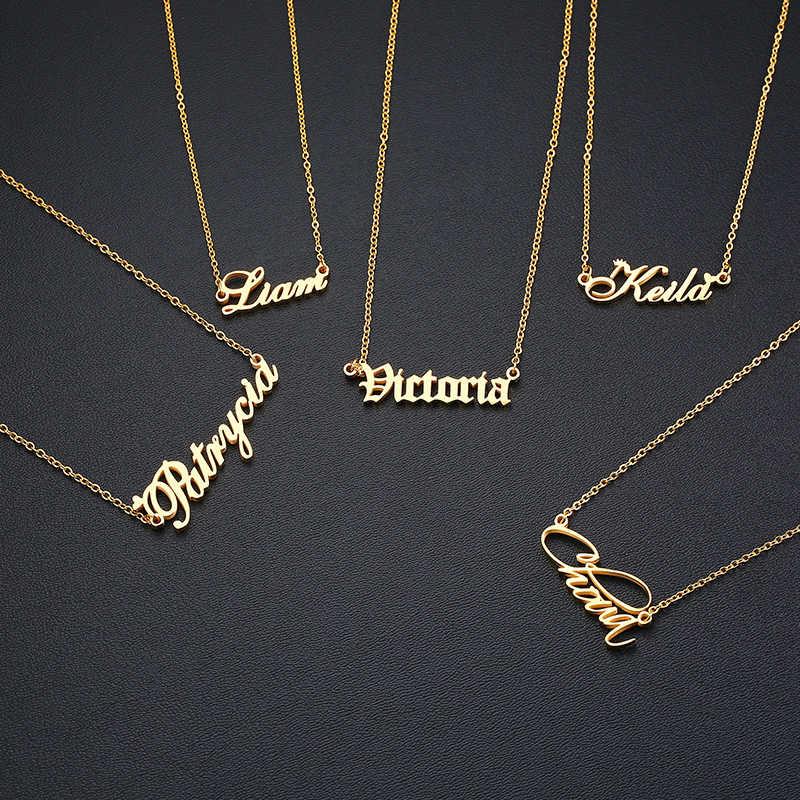 Kustom Pribadi Nama Kalung Stainless Steel Emas Kalung Nameplated Kalung Liontin untuk Wanita Wanita
