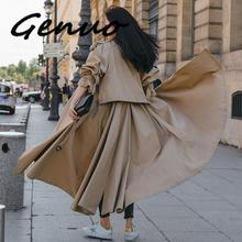 2019 Spring New Fashion Trend Women's Solid Color Over The Knee Long Coat Lapel System Belt Plus Windbreaker new product plus fertilizer to increase windbreaker british fashion coat woven solid color trend loose women s long coat
