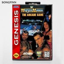 16 bit MD Memory Card With Box for Sega Mega Drive for Genesis Megadrive   Wrestle Mania The Arcade Game
