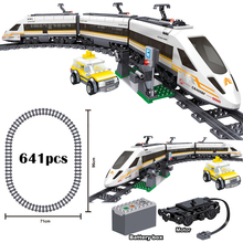 Technical 0307 City High Speed Train Battery Electric Power Motor Tracks Mini Dolls Educational Building Blocks Toys for Kids