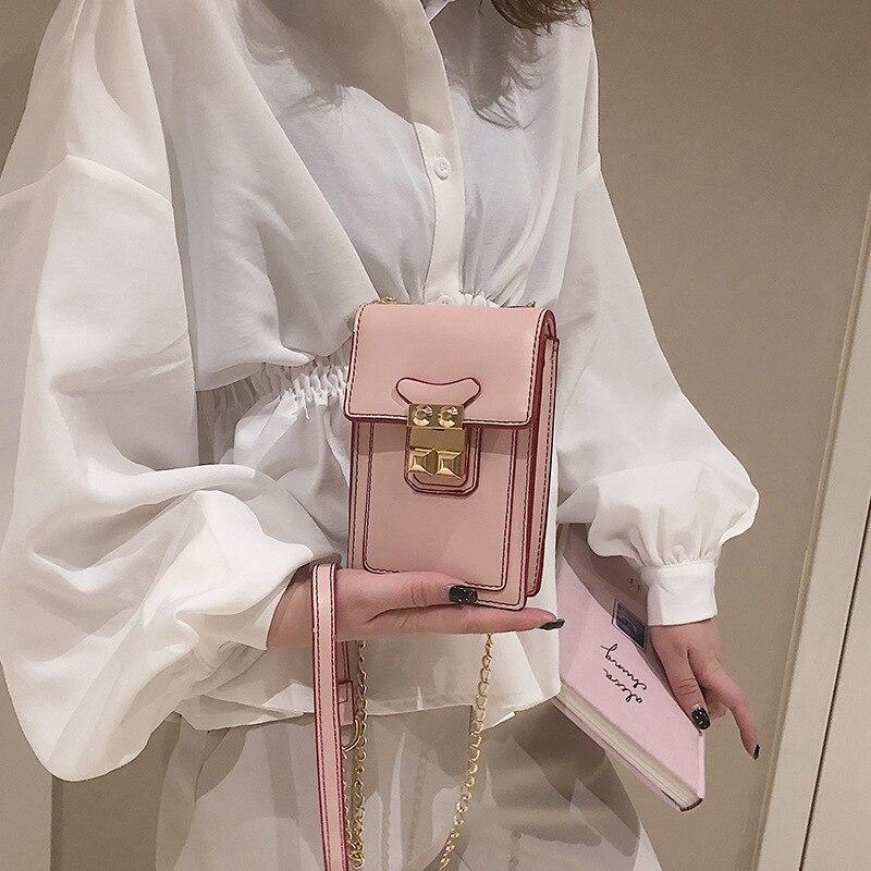 2019 nova moda vertical mini saco do telefone móvel versão coreana 100 corrente colo único ombro oblíqua mochila