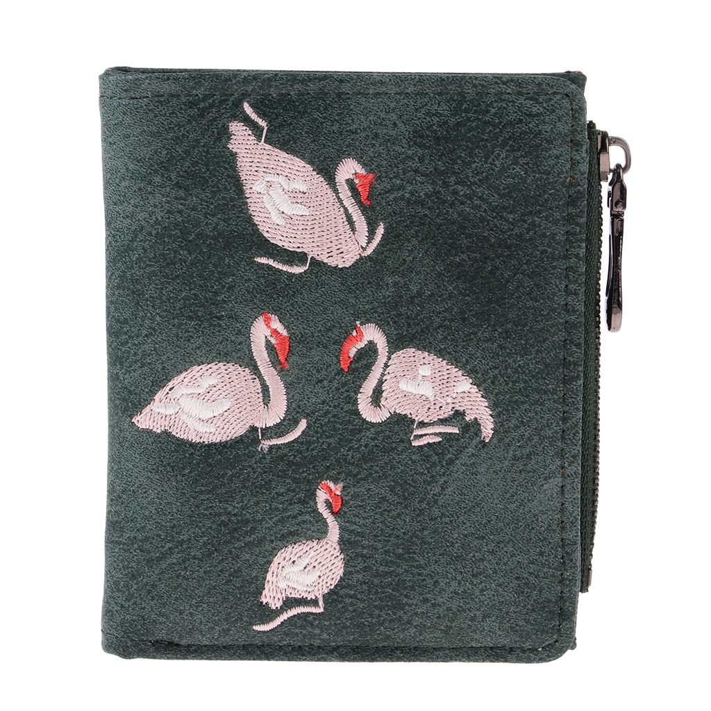Womens PU Leather Manual Holder Matte Coin Purse Card Holder Wallet Embroidery