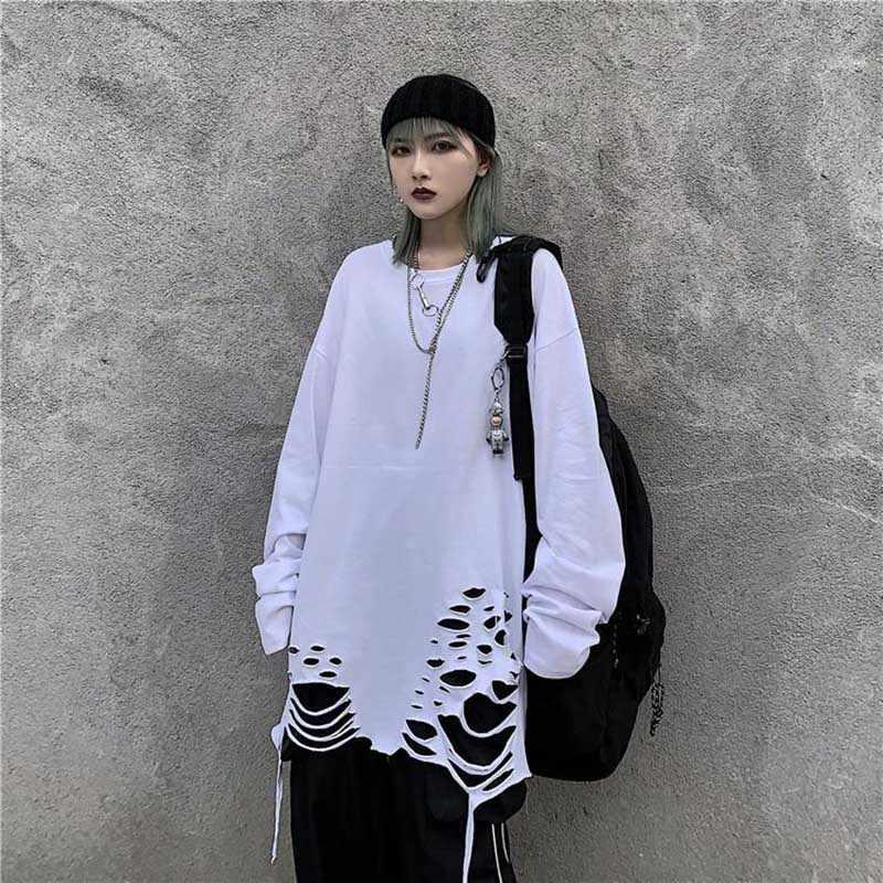 NiceMix Harajuku delik T Shirt kadınlar yuvarlak boyun uzun kollu kadın Punk t-shirt en Tees katı Hip Hop kadın Tshirt streetwear Fe