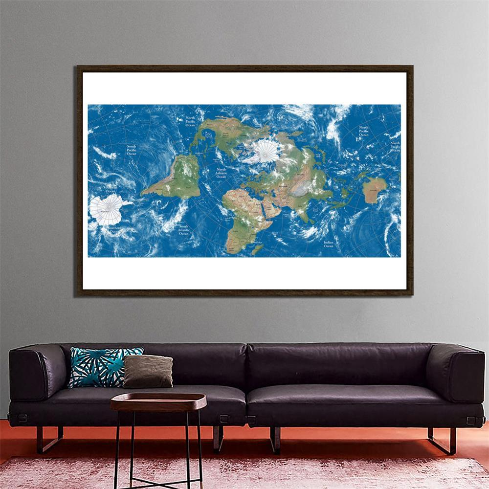 The World Map Centered On The Arctic Circle Elevation Profile Non-woven 1:2 Map For Culture And Education