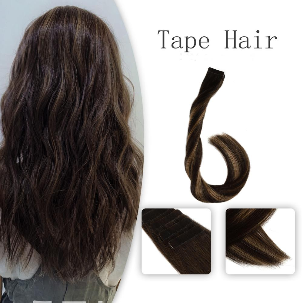 Vlasy 20'' 2.5g/pc Remy Tape In Hair Extensions Brown Mix Caramel Blonde Highlight Balayage Color Double Drawn Human Hair