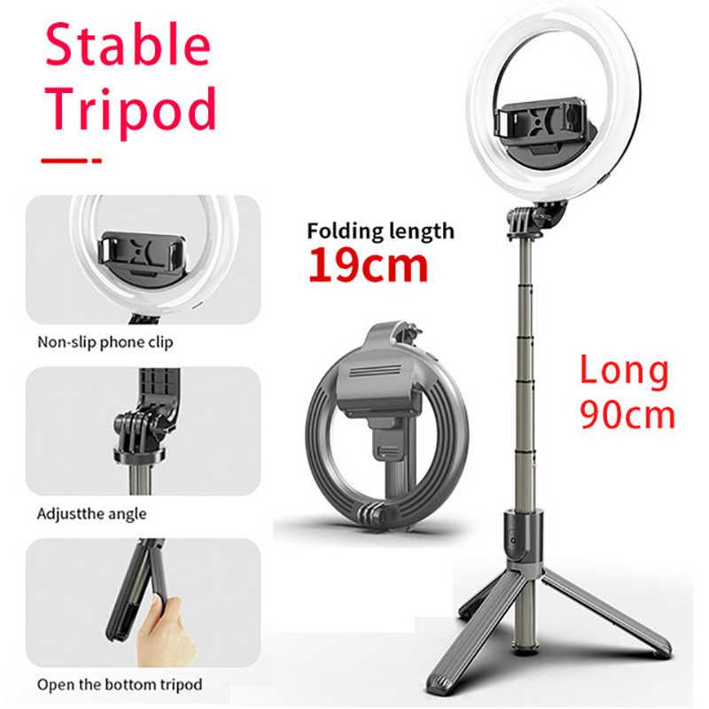 L07 2020 NEW 4 in 1 selfie ring light wireless Bluetooth selfie stick mini  tripod Handheld Extendable selfie stick With Remote| | - AliExpress