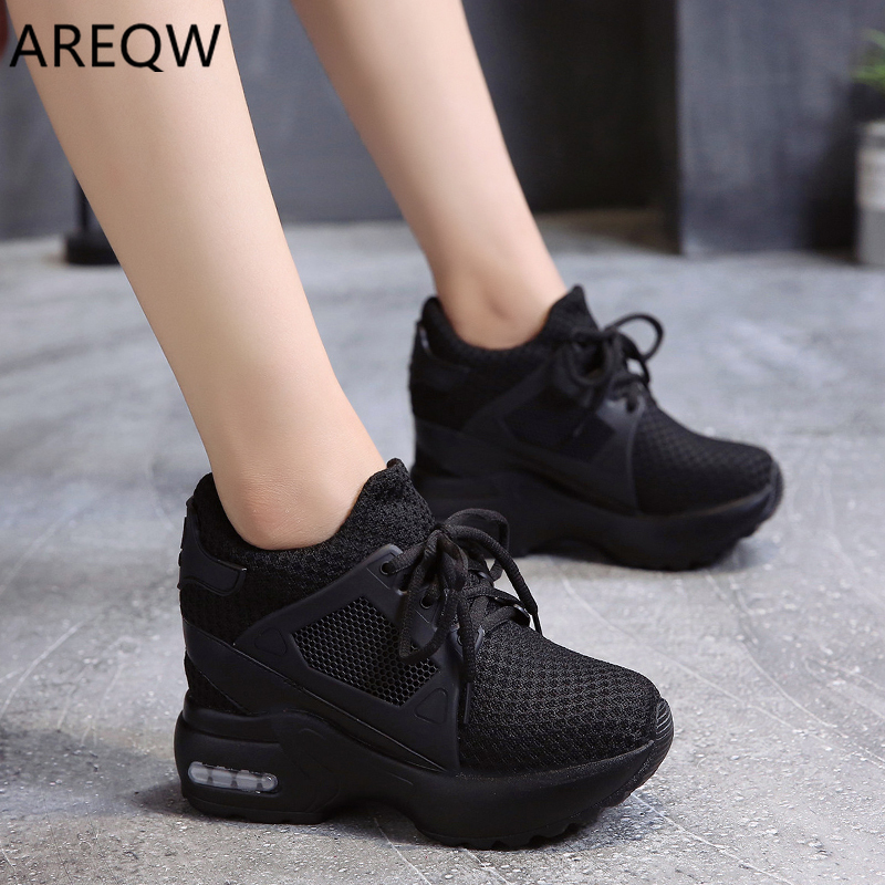 2020 Spring Autumn New Internal Height Women's Shoes Korean Lace-up Thick Bottom Casual Slope Heel Women High Top Sneakers