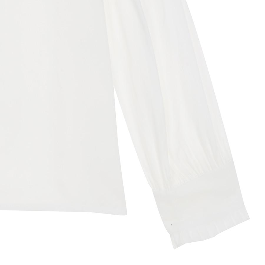 Heddf5505745b4662b2cf543092277a2cq - Spring / Autumn Korean Frilled Turn-Down Collar Long Sleeves One-Button Cuffs Solid Blouse