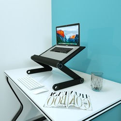 Laptop wsparcie pulpit komputer biurowy z regulacją wysokości chłodnicy pionowe półka podszewka z podwyższoną bazy składany w Reflektory od Lampy i oświetlenie na