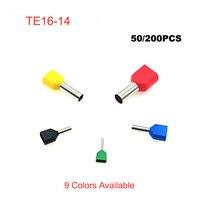 50/200 stücke Dual Draht Rohr ferrule isolierte crimp terminals TE16-14 rohr Elektrische doppel verdrahtung terminal anschlüsse kabel 6AWG
