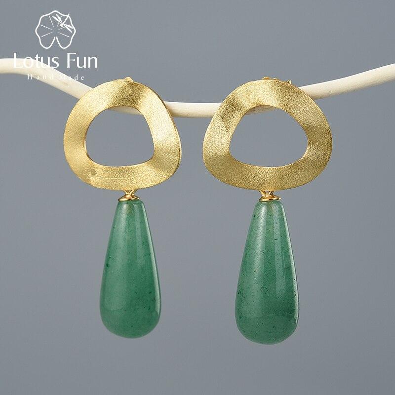 Lotus Fun Natural Gemstone Minimalist Style Uneven Geometric Shape Dangle Earring Real 925 Sterling Silver Handmade Fine Jewelry