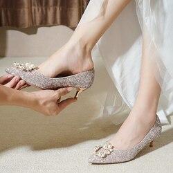 Sapatos de casamento das mulheres de salto baixo casamento de inverno grávidas 3 cm novas damas de honra sapatos de cristal de lantejoulas