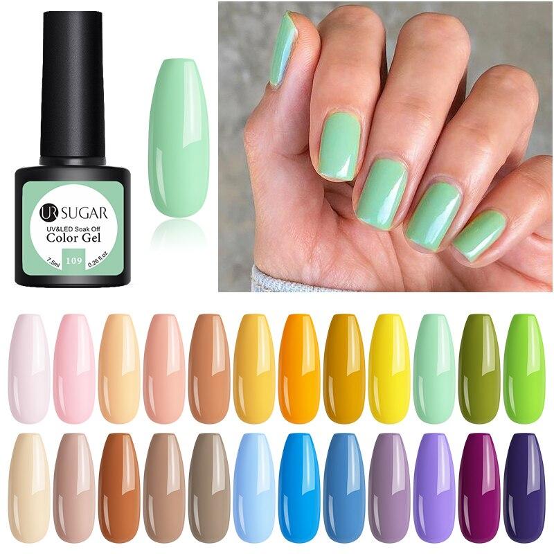 UR SUGAR Gel Nail Polish SpringGreen Color Gel Soak-Off UV LED  Colors Gel Polish Long-lasting Varnish Varnish 7.5ml