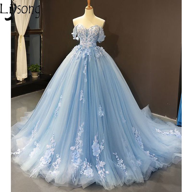 Off Shoulder Sky Blue Tulle Appliques Lace Senior Prom Dresses Ball Gown Evening Dress Court Train Formal Party Gowns REAL PHOTO