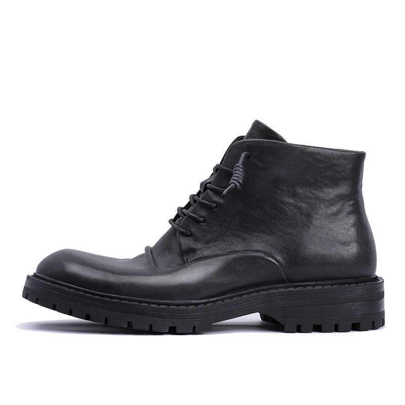 Sonbahar kış üst katman inek derisi Martin kalın tabanlı erkekler açık havada botları artış yüksek yardım iş elbiseleri İngiltere rüzgar erkek ayakkabı