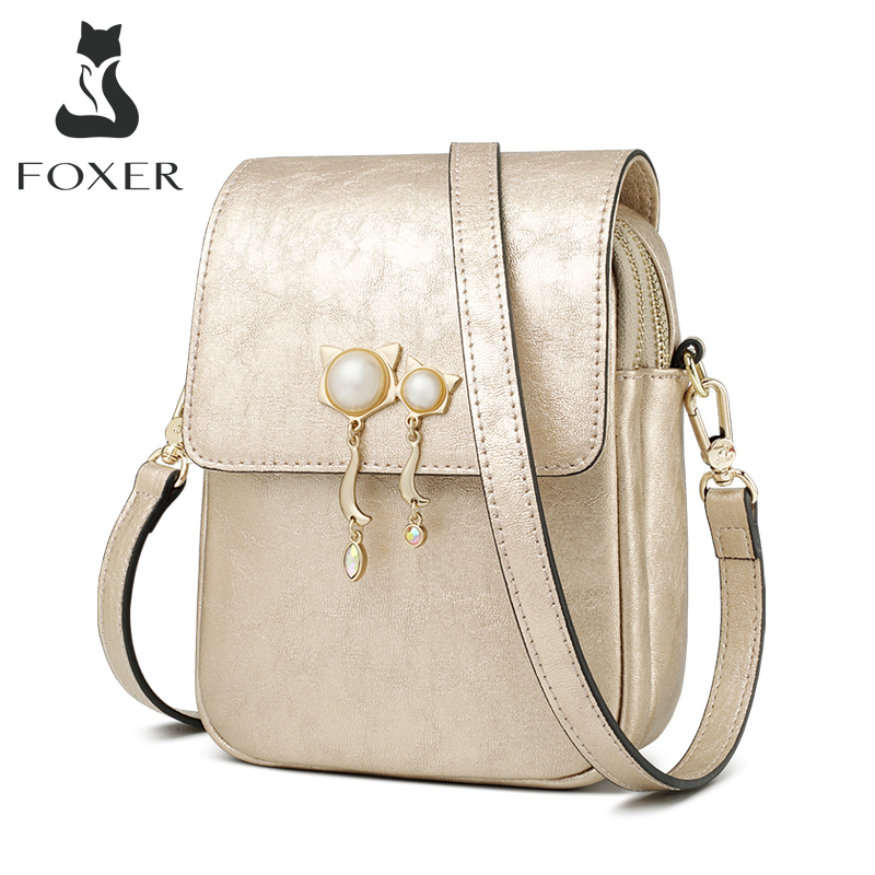FOXER Ladies Cowhide Phone Clutch Bag Mini Totes Large Capacity Female Chic Messenger Bag Women Leather Purse Crossbody Bags