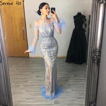 Serene Hill Dubai Luxury Blue Mermaid Evening Dress Long Sleeve Feathers Sequins Evening Gown 2020 CLA60932