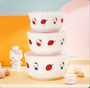 3Pcs Japanese Kitty Ceramic Lunch Box Procelain Bowl Bento LunchBox Portable Food Container For Kids Tableware Dinnerware Set
