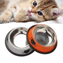 New Pet Product Dog Cat Food Bowls Stainless Steel Anti-skid Dogs Cats Water Bowl Pets Drinking Feeding Bowls Tools Supplies pets teeth cleaning tools double sided dogs cats tartar remover dental stones stainless steel scraper pet supplies 30