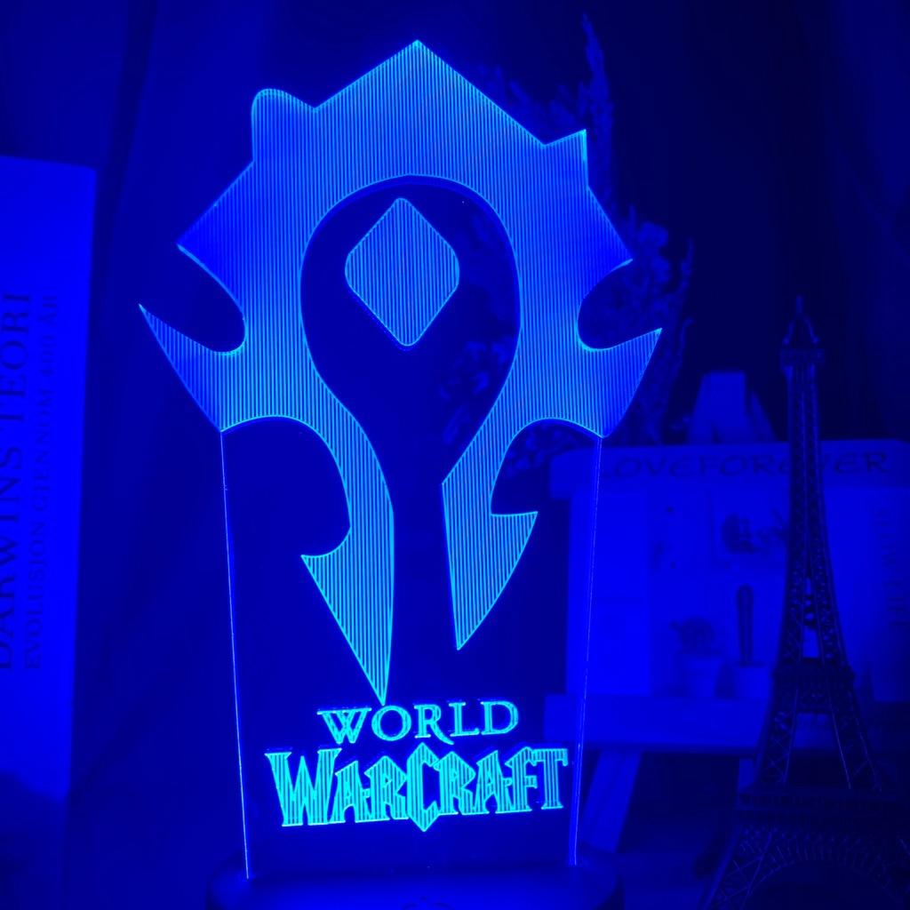 Hede012f498bf46f5ba729cf3415d37b45 Luminária World of warcraft Luz da noite 3d jogo horda bandeira cor mudando nightlight para crianças criança cama quarto decoração sensor de toque lâmpada led wow presente