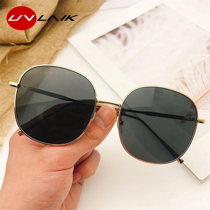 UVLAIK 2020 Round Oversized Mirror Sunglasses Women Brand Designer Metal Big Frame Sun Glasses Luxury Lady UV400 Eyewear
