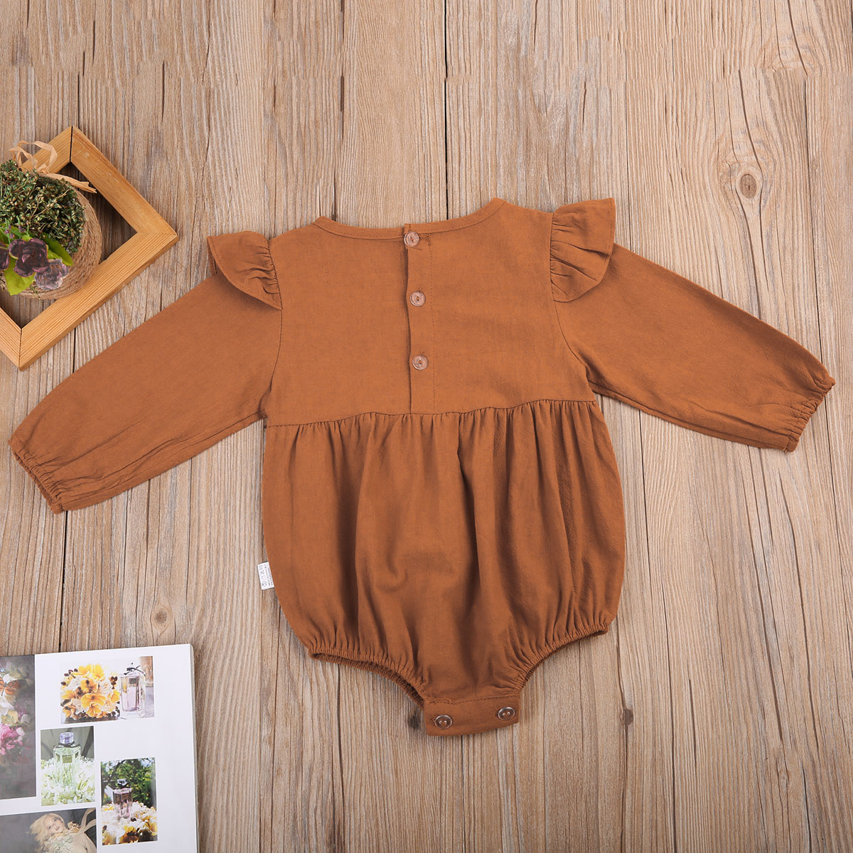 Newborn Baby Girls Kids Button Long  Butterfly Sleeve Cotton Summer Autumn Warm Bodysuits Outfits Jumpsuit Clothes Size 3M-3T