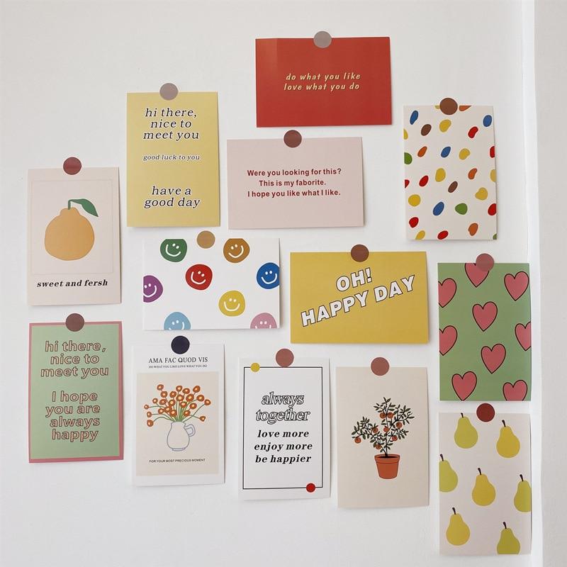 Juego de tarjetas de arte en inglés con flores Ins Color, cartel pequeño, decoración de postales, pegatina de pared, herramienta de cuenta de mano, pegatina de Decoración, regalo