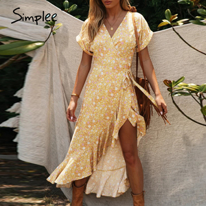 Image 1 - Simplee Floral print women dress Sexy wrap ruffled sash high waist summer dress Casual holiday bodycon v neck beach dress 2020