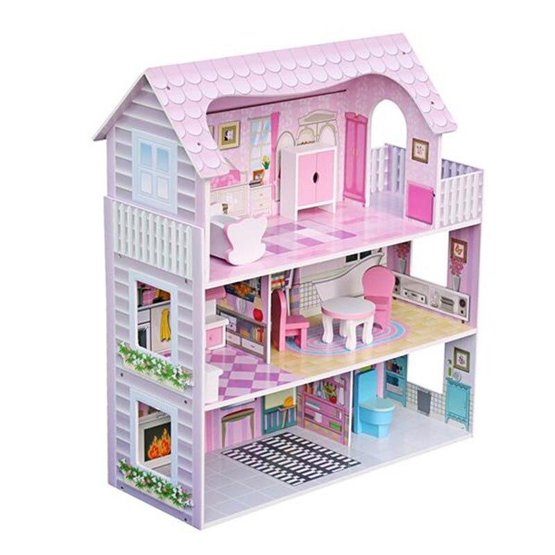 Cadeaux de noël! grande maison de poupée en bois pour enfants jouer rose avec des meubles Simulation beau jouet pour enfants
