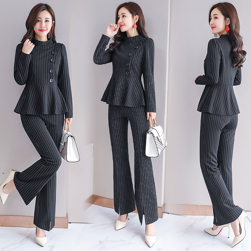 Striped Pant Suits Two Twin Style One Piece Set for Women 2 Piece Sets 2019 Plus Size Large Clothing Outfits Office Co-ord Set