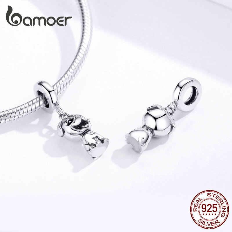 Bamoer hayvan Pet köpek Bako kolye Charm fit orijinal kadınlar gümüş 925 bilezik veya kolye 3D tasarım DIY takı SCC1320