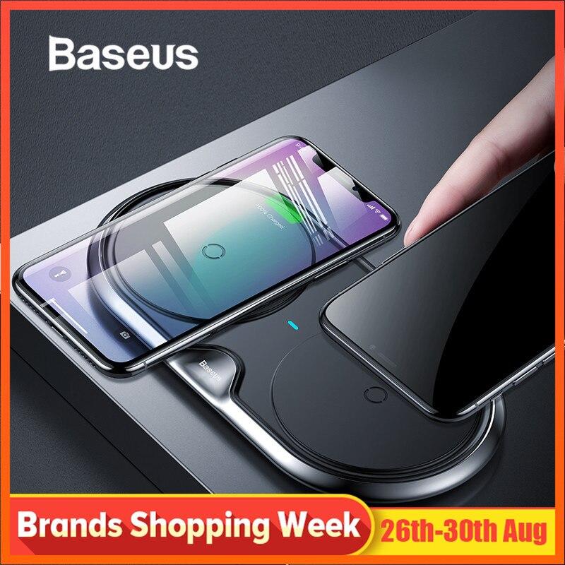 Chargeur sans fil Qi double siège Baseus 10W pour iPhone X 8 XR Samsung S10 S9 Note 9 10 Huawei P30 P30pro chargeur rapide sans fil