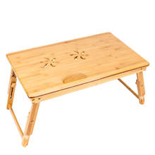 US Warehouse Four Styles 53x33x(20.5-27.5)cm  Adjustable Bamboo Computer Desk Laptop Desk with Drawer Trendy Retro/Double Flower
