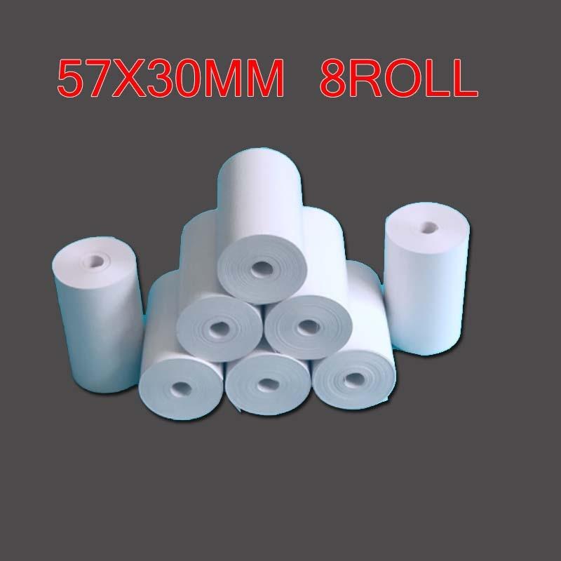 Термальная бумага 57x30 мм POS принтер 8 рулонов Мобильный bluetooth кассовый аппарат Бумажный слайдер для бумаги ang & Peripage мини-принтер