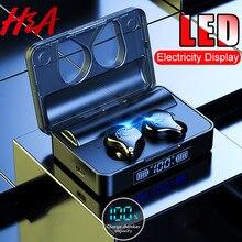Наушники H& A Bluetooth V5.0 с сенсорным управлением, беспроводные наушники IPX7, водонепроницаемые спортивные наушники+ внешний аккумулятор 3600 мАч для всех телефонов