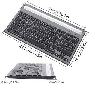 Image 5 - MIni teclado Bluetooth con soporte para teléfono, recargable para tableta de doble canal teclado inalámbrico/portátil/teléfono