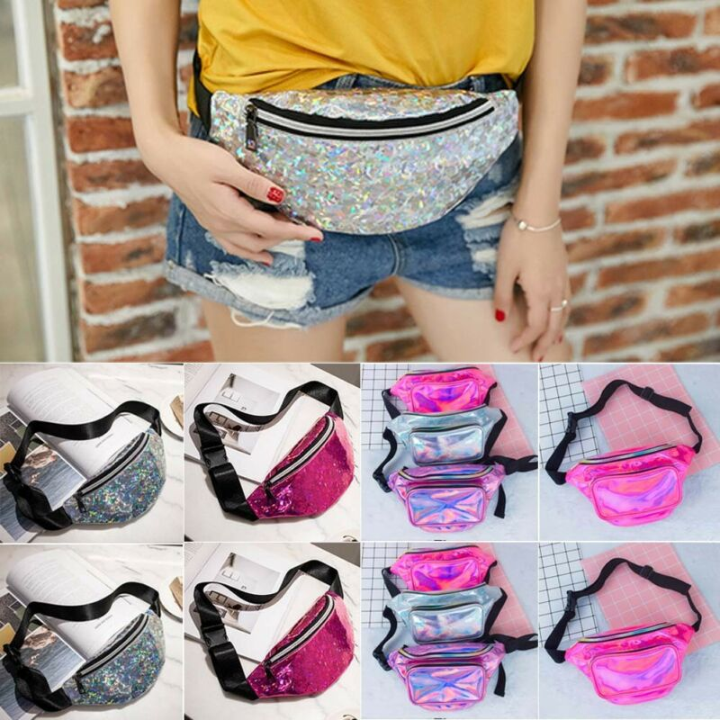 Sequin Glitter Waist Fanny Pack Belt Bum Bag Pouch Hip Purse Messenger Handbag Fashion PU Women Crossbody Coin Waist Pack